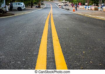 asphaltez route, jaune, nouveau, ligne, route