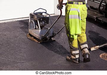 asphalting road