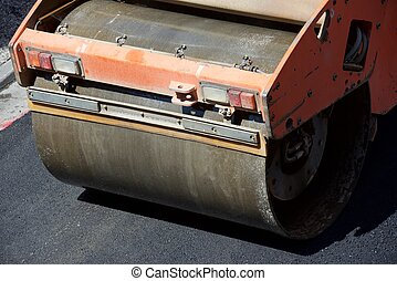 Asphalting work - Heavy Vibration roller in asphalt pavement...