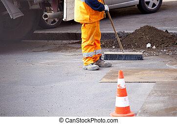 Worker in the street