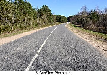 asphaltstraße, in, a, landschaft