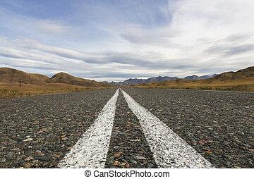 asphaltstraße, in, der, hochländer