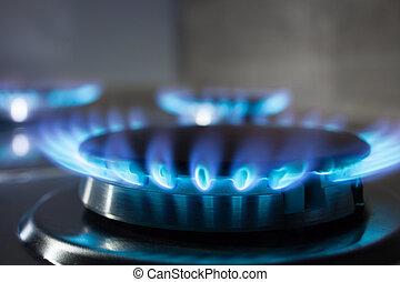 asphyxiez poêle, brûleur, flamme