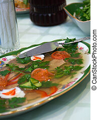 Aspic from meat .