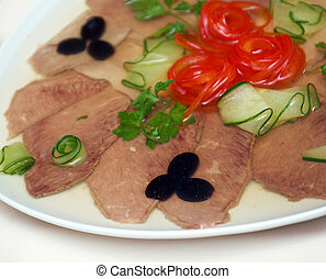 Aspic from meat with egg.