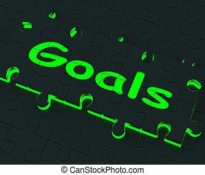 aspirações, mostrando, objetivos, quebra-cabeça, metas