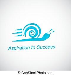 aspiración, concepto, rápido, caracol