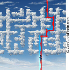 Aspiration leadership solutions with a businessman climbing a red ladder that has found an answer to a cloud shaped labyrinth or maze as a symbol of career success and achieving your goals through planning and strategy.