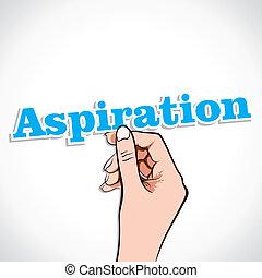 Aspiration Word sticker In Hand Stock Vector