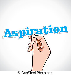 Aspiration Word sticker In Hand Stock Vector
