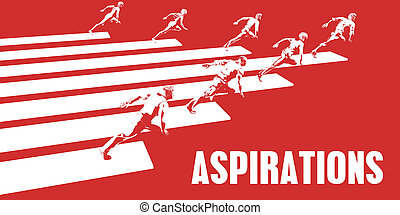 Aspirations with Business People Running in a Path