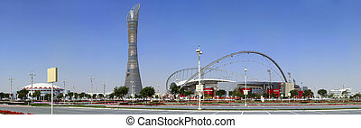 Aspire complex in Doha - A panoramic view of the Aspire...
