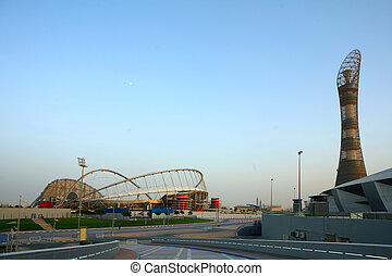 A view of the Aspire sports complex in Doha, Qatar, which has been chosen to host the football World Cup in 2022. The torch tower on the right, was constructed for the Asian Games. The Khalifa Football Stadium is on the left