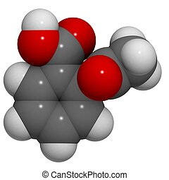 Aspirin (acetylsalicylic acid): molecular structure (3D) -...