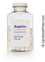 Aspirin Bottle - Bottle of aspirin with a clipping path on...