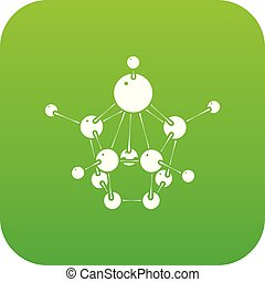 Aspirin icon green vector isolated on white background