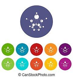 Aspirin icons set color