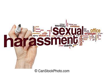 assédio, sexual, palavra, nuvem, conceito