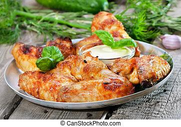 assado, asas galinha, com, molho