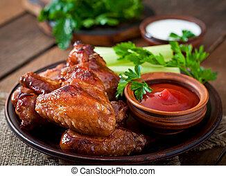 assado, asas galinha