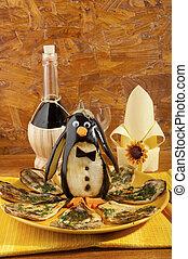 assado, beringela, com, beringela, pingüim