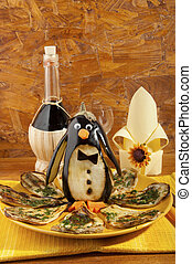 ASSADO, beringela, Pingüim