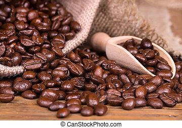 assado, café, em, saco, burlap.