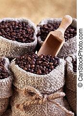 assado, café, em, sacolas