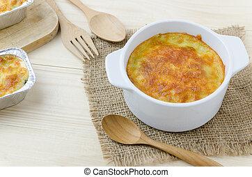 assado, espinafre, com, queijo
