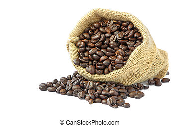 assado, feijões café, em, saco burlap
