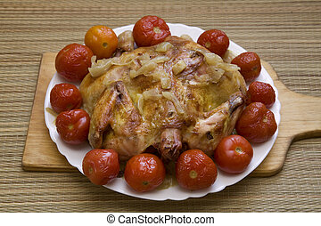 assado, galinha, para, jantar natal, festivo, colocação tabela