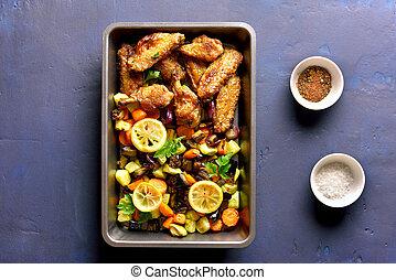 assado, legumes, com, asas galinha