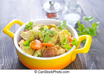 assado, legumes