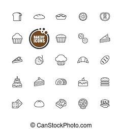 assado, linha, panificadora, pão, jogo, ícones