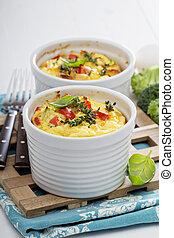 assado, omelete, com, legumes