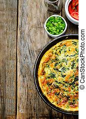 assado, omelette, com, espinafre, endro, salsa, e, cebolas...