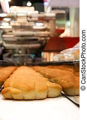 assado, pães, ligado, a, linha produção