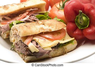 assado, sanduíche, gourment, carne