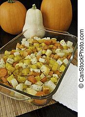 assado, vegetais raiz, com, abóboras
