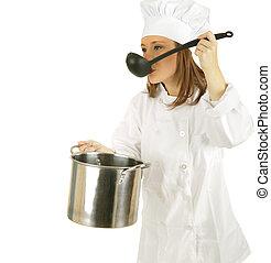 assaggio, salsa, o, minestra