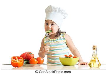 assaggio, sano, sopra,  chef, cibo, preparare, fondo, ragazza, bianco