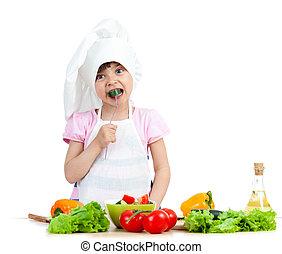 assaggio, sano, sopra,  chef, cibo, preparare, fondo, bianco, capretto