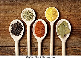 assaisonnement, nourriture, épice, ingrédients