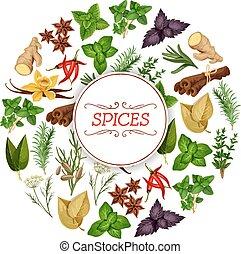 assaisonnement, nourriture, aromate, bannière, ou, épice