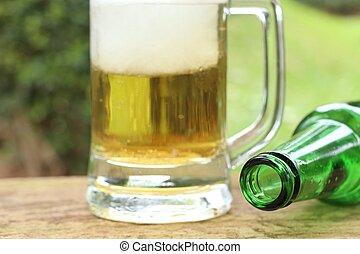 assalta, cerveja, com, espuma