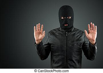 assaltante, cópia, arrest., crime, levantado, thug, pretas, space., fundo, assalto, hacker, roubo, surrenders., mãos, balaclava, seu