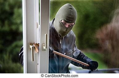 assaltante, em, um, janela