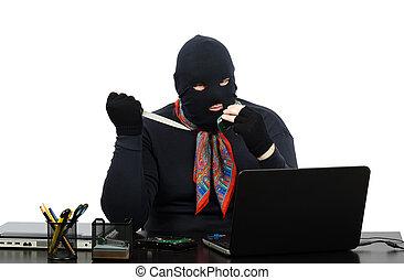 assaltante, faca, escritório