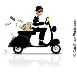 assaltante, ligado, scooter