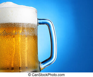 assalte cerveja, sobre, azul